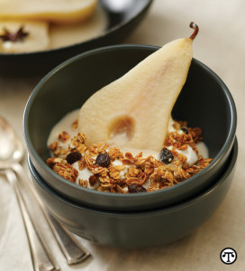 infused pears with healthy granola
