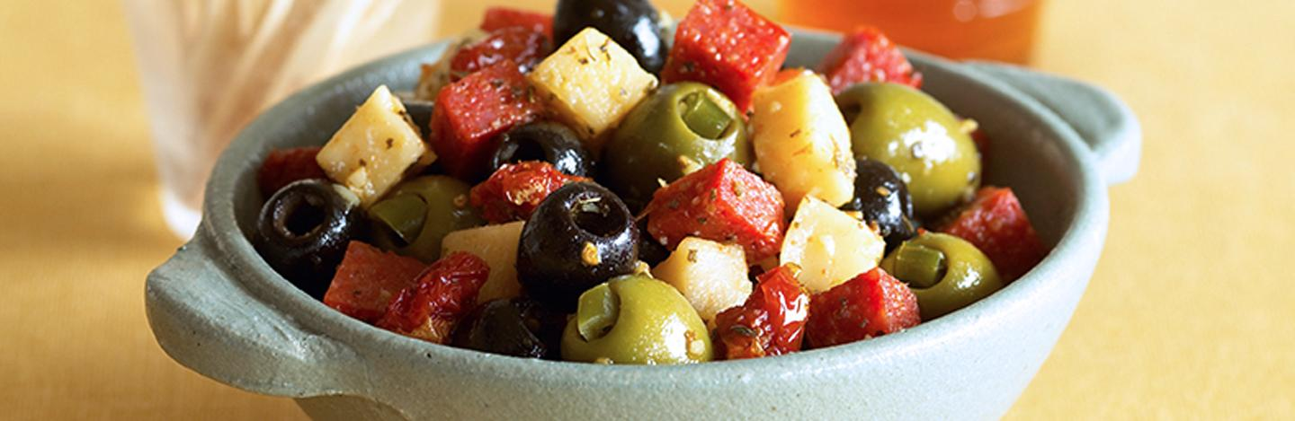 "Warm ""Pepperoni Pizza"" Olives"