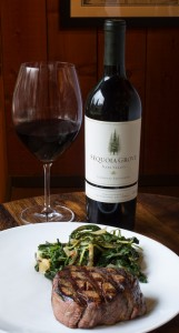 Grilled filet mignon with braised garden greens and Sequoia Grove Cabernet Sauvignon.