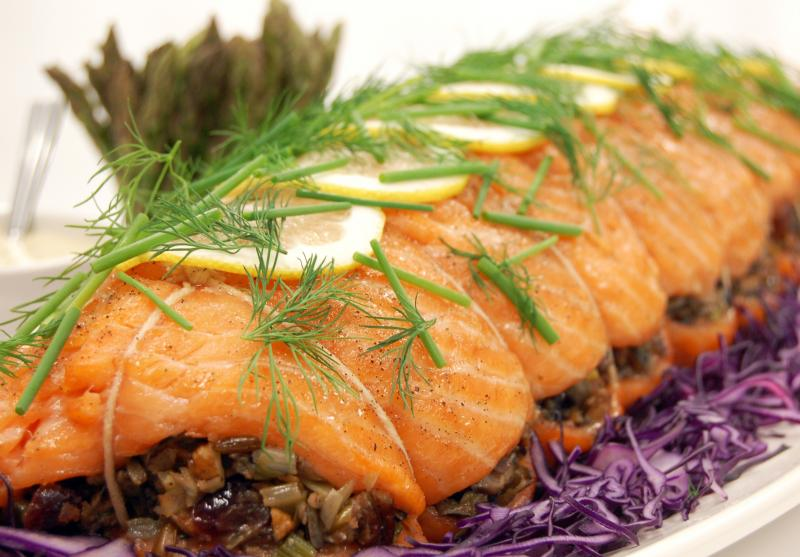 Norwegian Salmon Stuffed with Wild Rice, Cranberries and Pecans