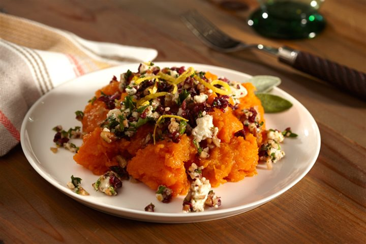 Baked Sweet Potatoes with Cranberry Gorgonzola Gremolata