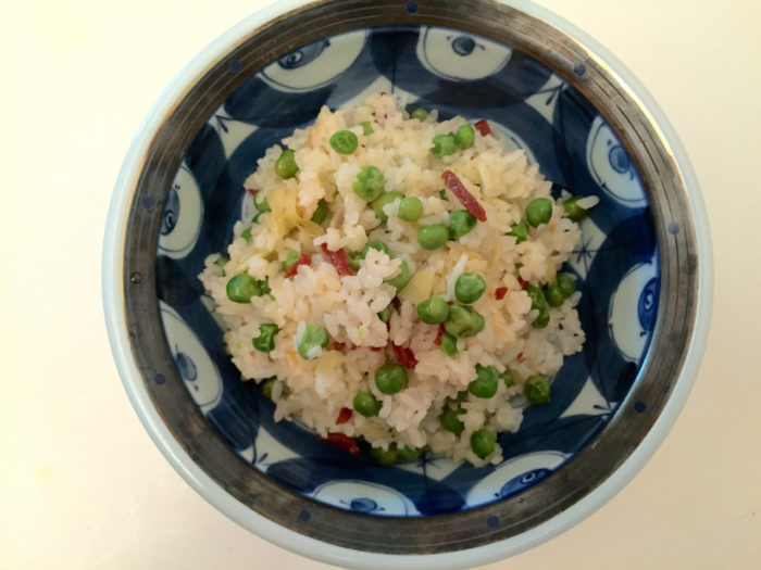 Takikomi-gohan, a sort of Japanese paella, with chorizo and peas.