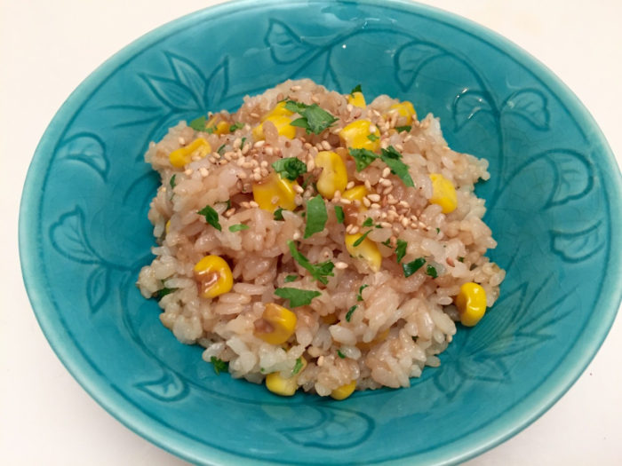 Corn rice with shoyu and butter