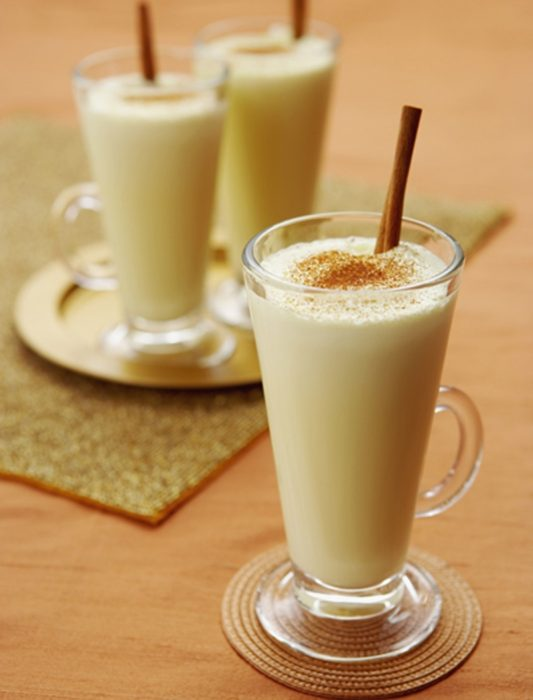 Eggnog with Nutmeg and Cinnamon Sticks