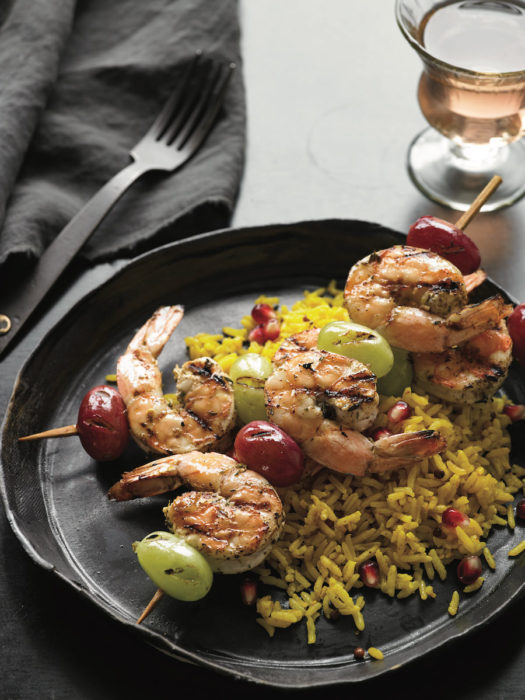 Zahtar Shrimp and Grapes Kabobs
