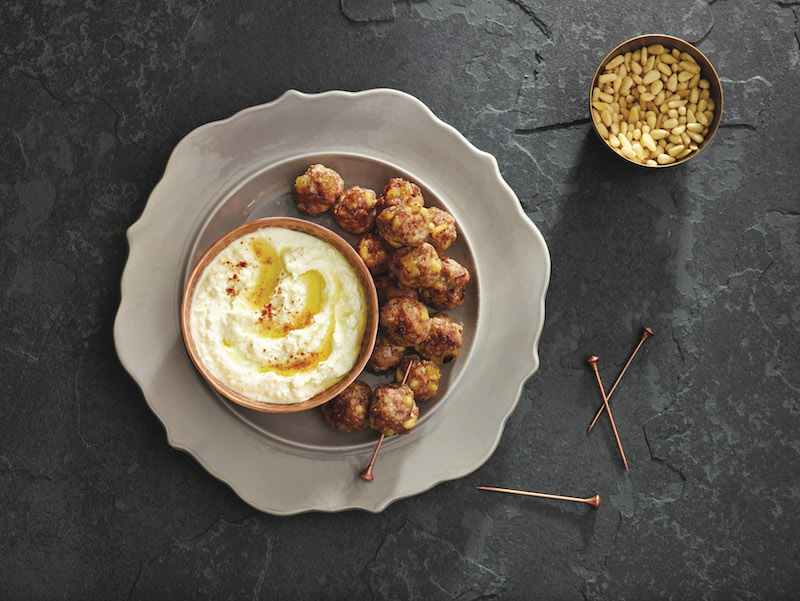 Sicilian Lamb Meatballs with Whipped Feta-Olive Oil Sauce